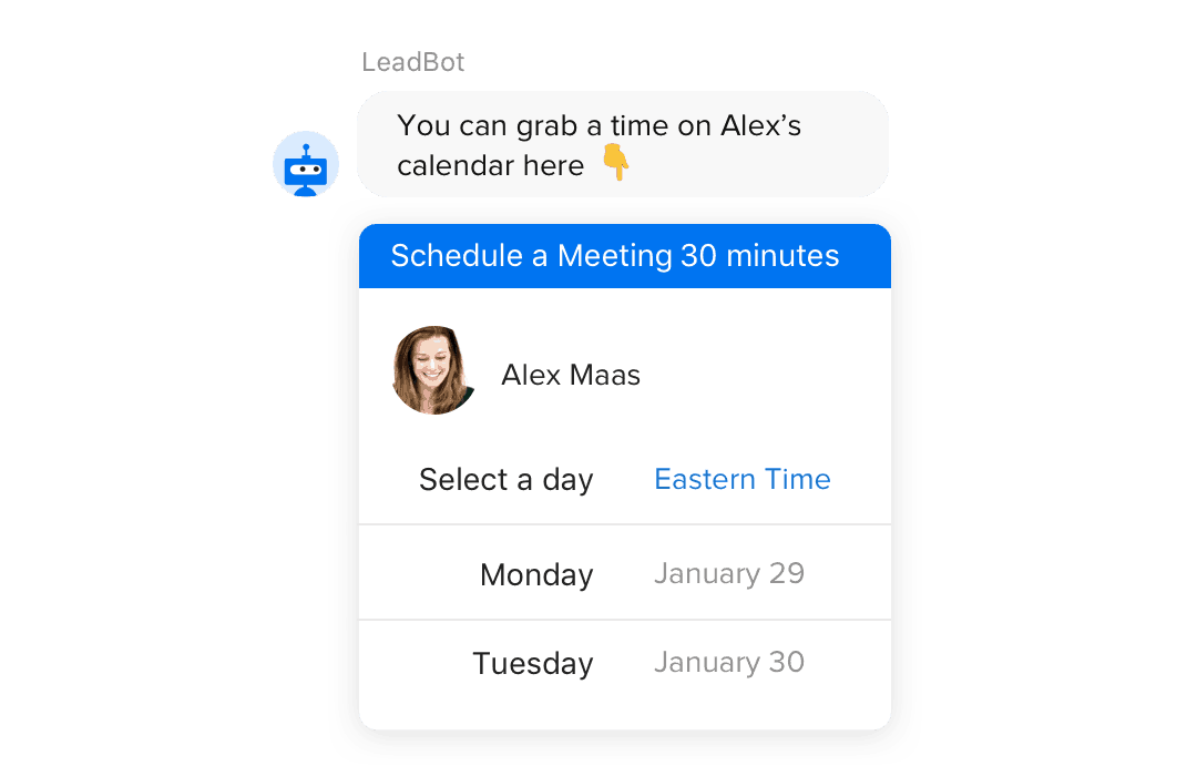 Drift automatically booking meetings through the chatbot