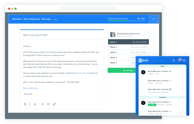 Drift conversational marketing allows you send automated emails