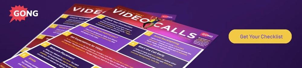 Gong video call checklist CTA