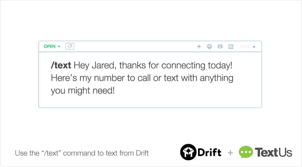 TextUs Drift Set Up Conversational Text Messaging Step 2