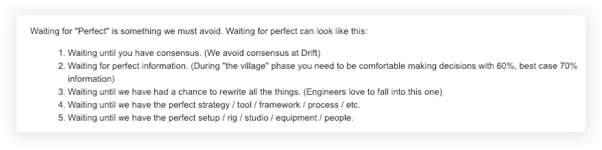 stop waiting for perfect Drift