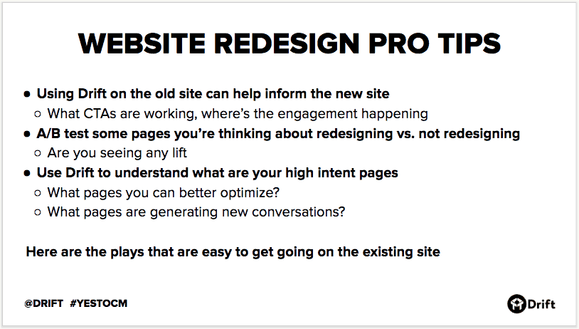 Drift website redesign tips
