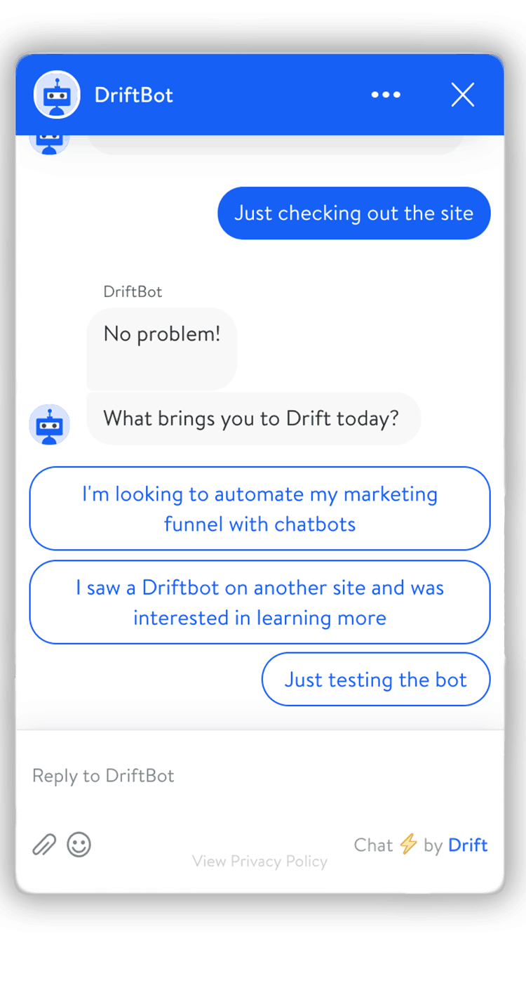 Just browsing Drift chatbot 1