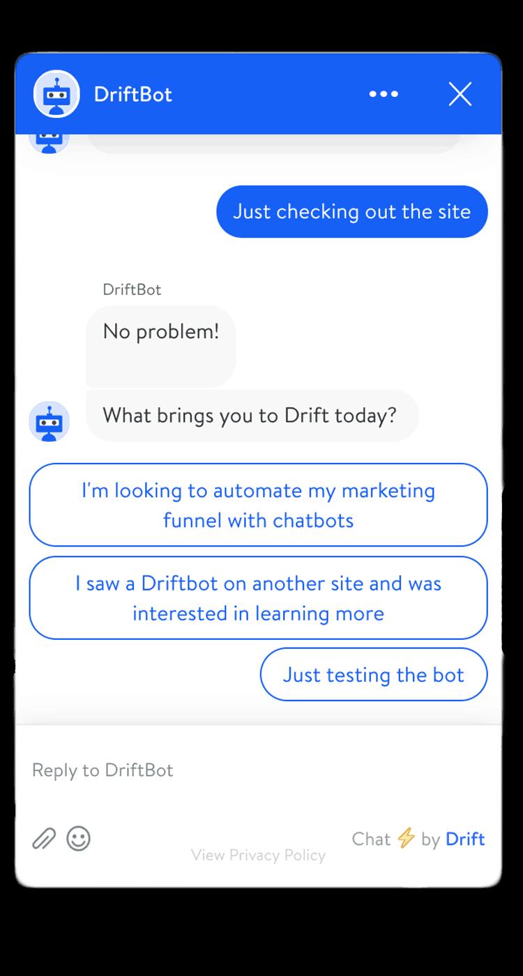 Just browsing Drift chatbot 1