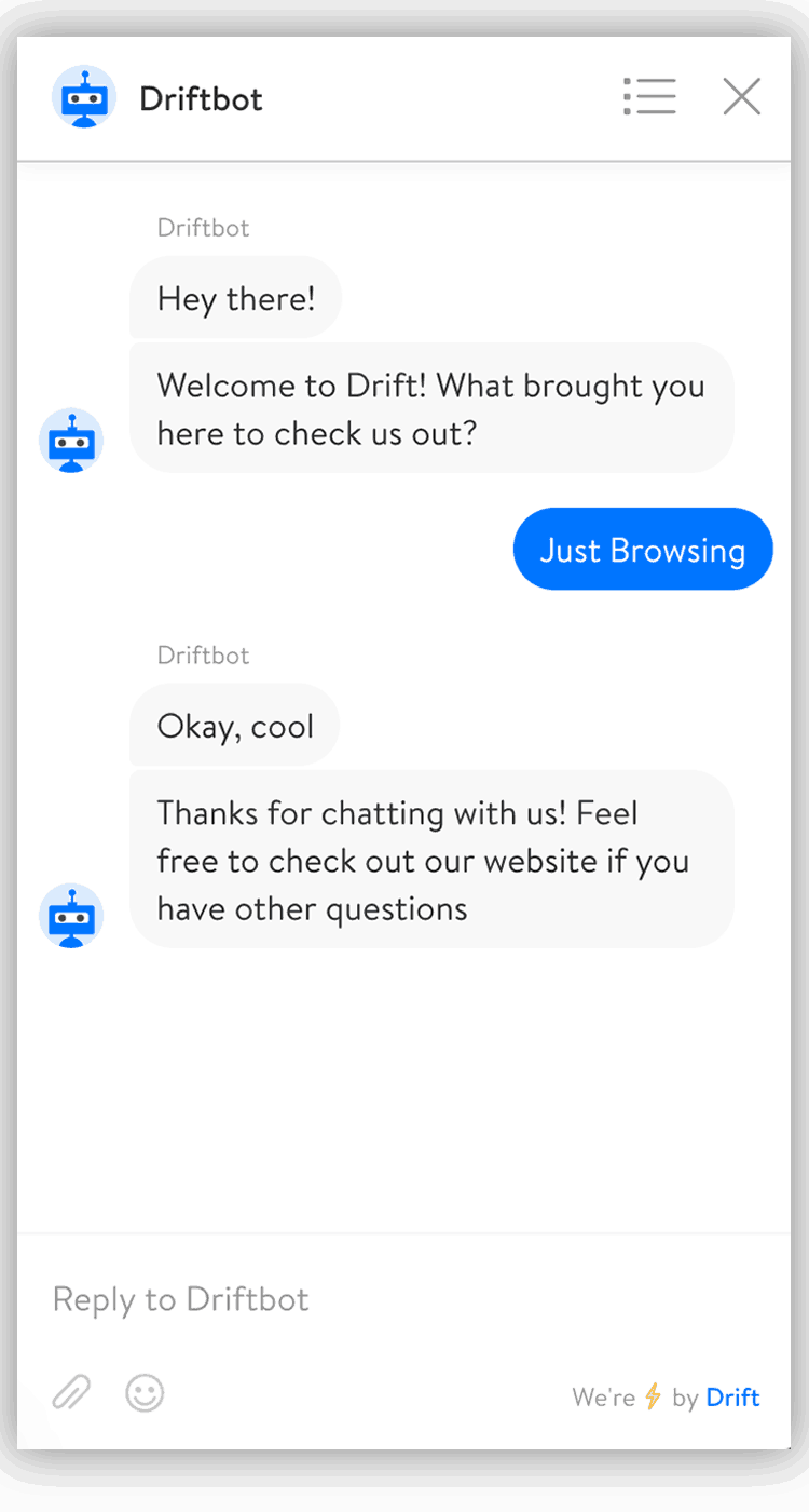Just browsing Drift chatbot 2