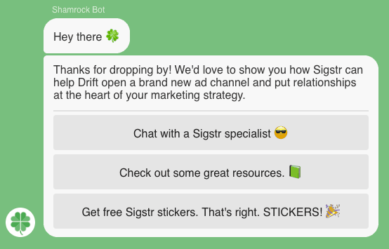 Sigstr ABM targeting with Drift conversational content