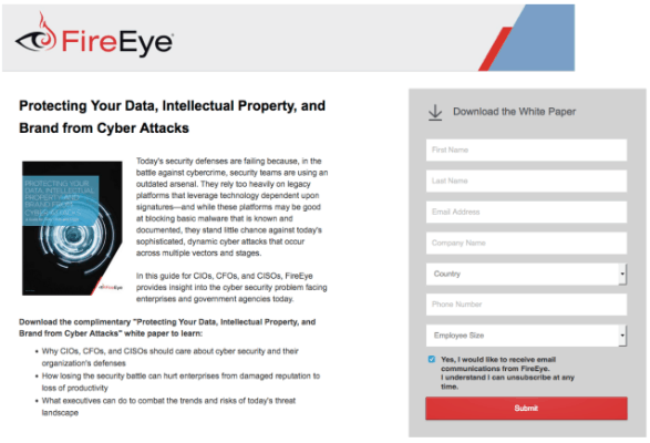 fireeye lead generation landing pages