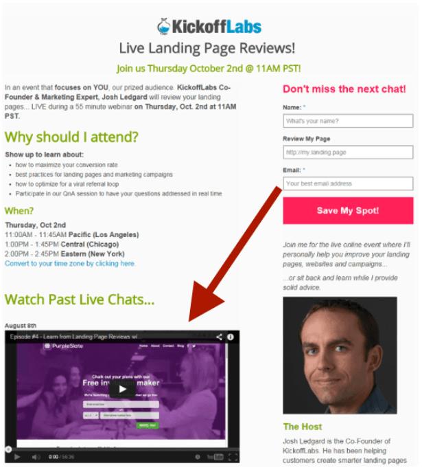 kickoff labs webinar landing page