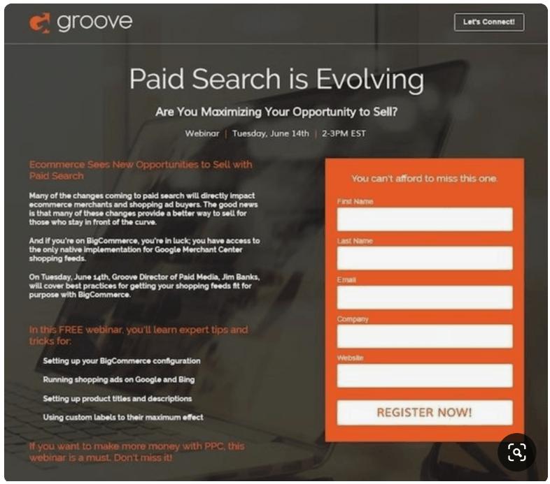 groover webinar landing page