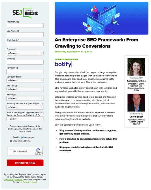 SEJ webinar landing page