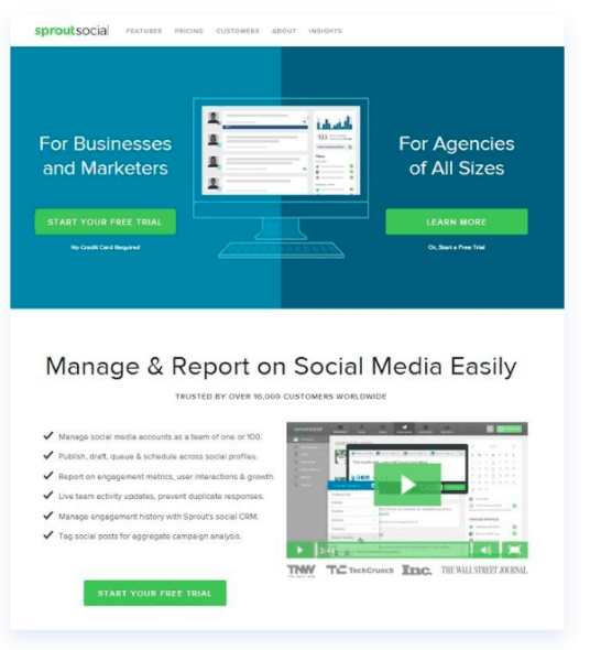 sprout social video landing page
