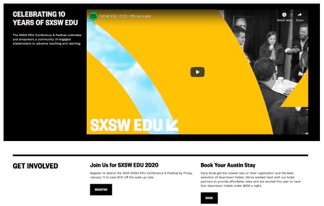 sxsw event landing page example
