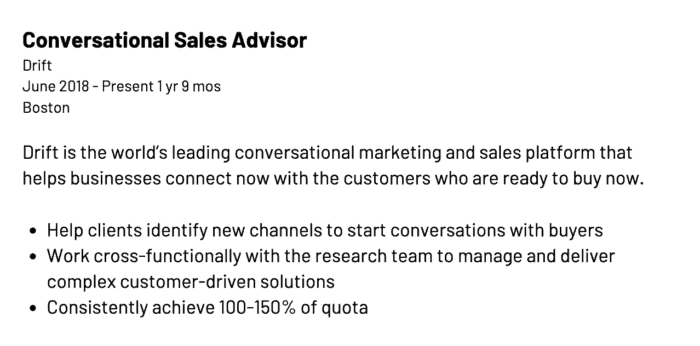 alt text: Linkedin sales profile examples