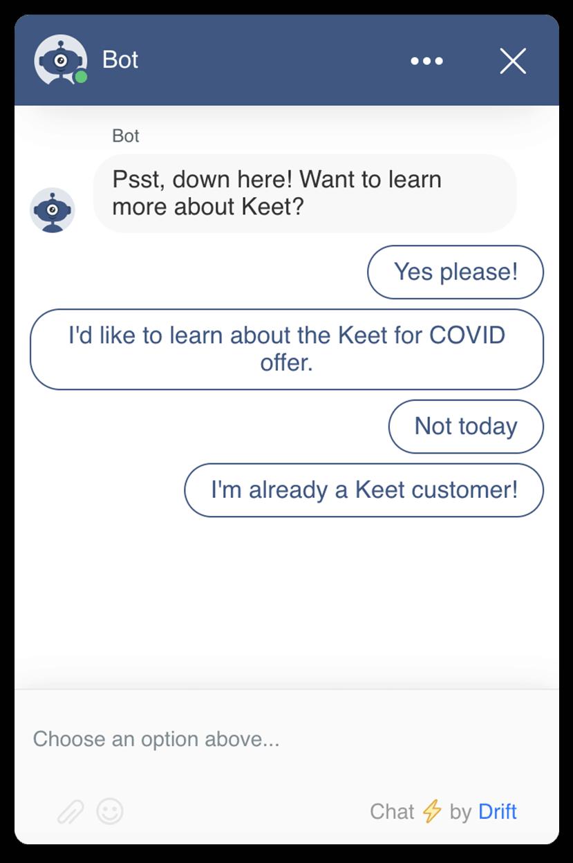 Keet Health Drift homepage bot
