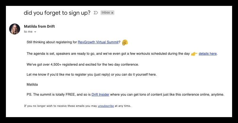 Webinar Bots - Matilda Email
