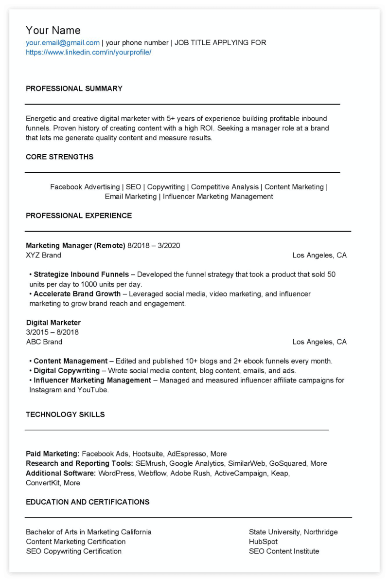 digital marketing resume teardown examples templates