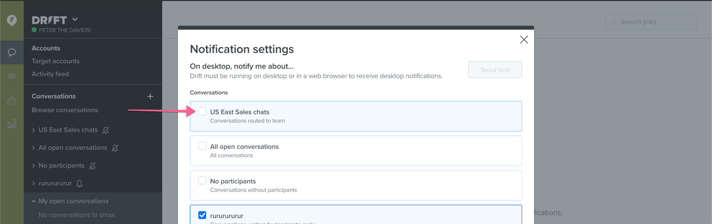Customized notifications by section