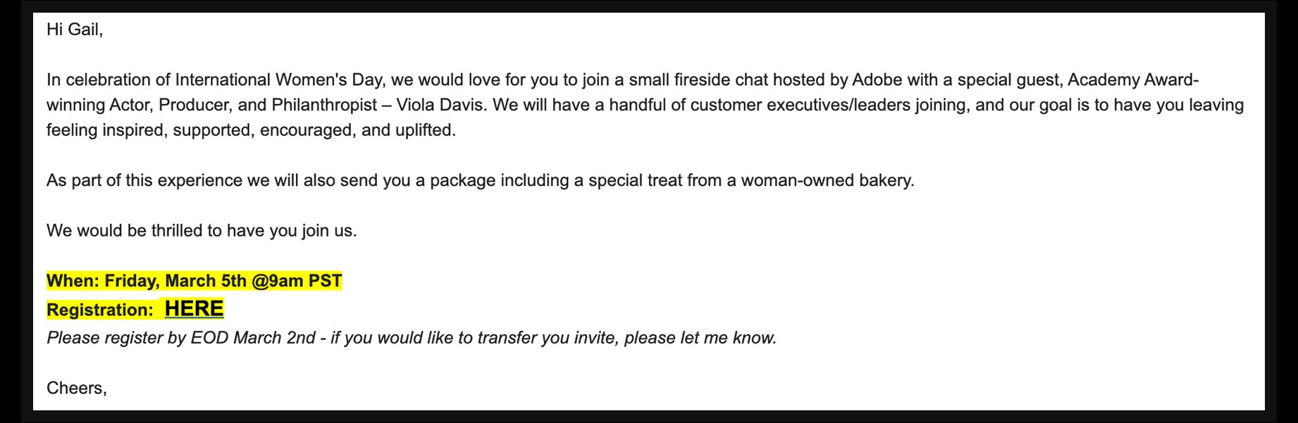 Adobe event invite