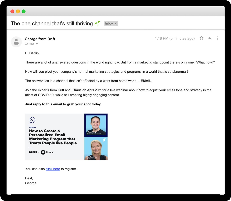 go to market framework Drift Email