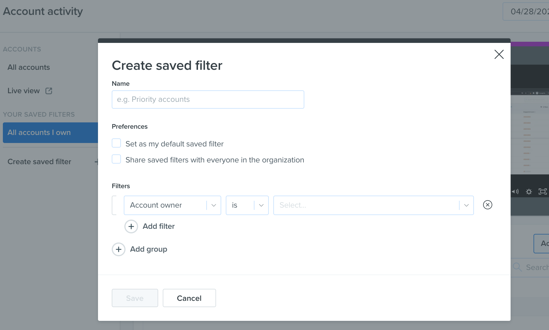 Saved Filters