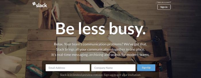 Slack growth strategy homepage