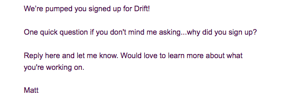 Drift Welcome Email